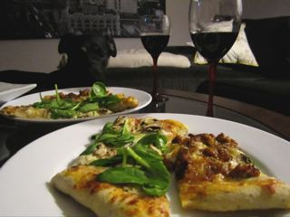 Pizza and wine night with crazy good caramelized onions